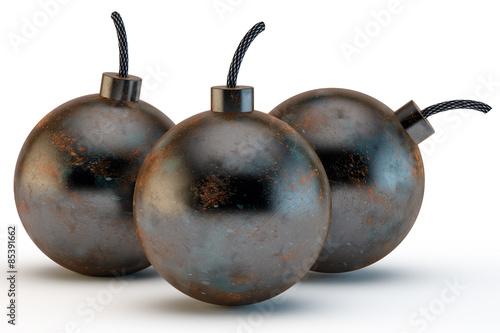 Photo  three ancient round bombs