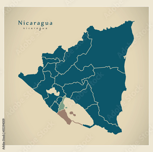 Modern Map - Nicaragua with regions NI Wallpaper Mural
