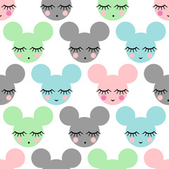 fototapeta wzór z uśmiechem myszki do spania dla dzieci