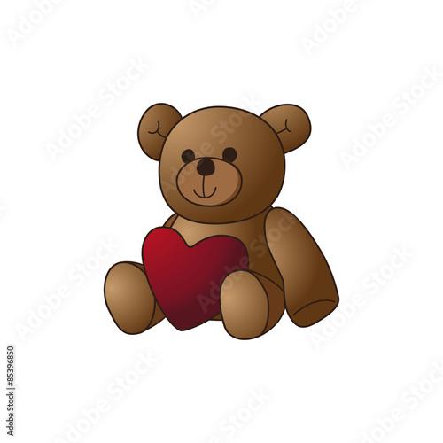 Cute teddy bear doll with heart shape vector image illustration #85396850
