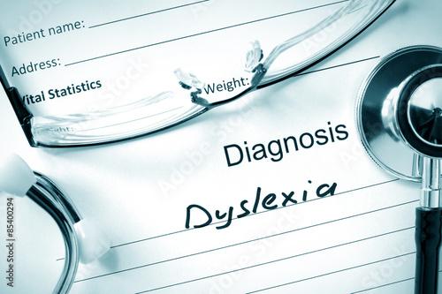Diagnosis Dyslexia and tablets. Medicine concept. Wallpaper Mural