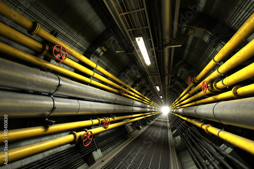 Foto 3D rendered industrial service tunnel with pipelines and valves
