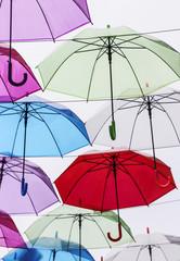 Colorful umbrellas decoration in the city