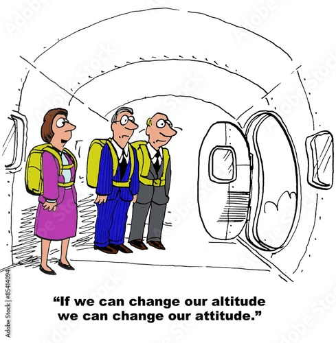 Foto op Plexiglas Comics Business cartoon of three businesspeople wearing parachutes, 'if we can change our altitude we can change our attitude'.