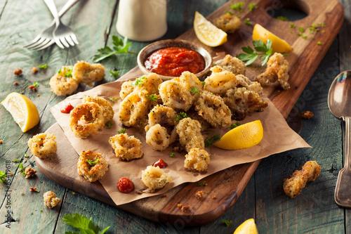 Aluminium Prints Grill / Barbecue Homemade Breaded Fried Calamari