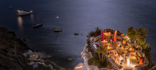 Terrace In Front Of The Ocean. Restaurant With Sea View At Night
