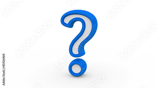 Valokuva  3D illustration of blue question mark sign