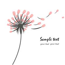 Dandelion Greeting Card With Finger Prints
