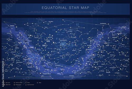 Zdjęcie XXL Wysokie szczegółowe mapy gwiazd z nazwami gwiazd, kontellacje i obiekty Messiera, kolorowe wektor
