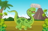 Fototapeta Dino - Cartoon happy dinosaur with mountain