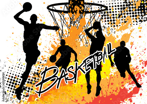 basketball player team on white grunge background Poster