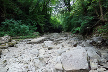 Dry Rocky Riverbed Of Agura River In Agura Gorge Near The City Of Sochi In Russia