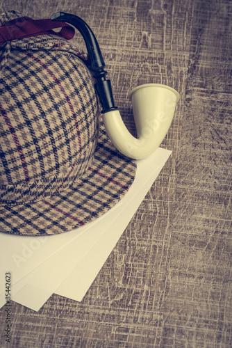 Sherlock Hat and Tobacco pipe Wallpaper Mural