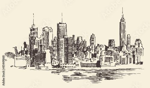 architektura-nowego-jorku-vintage-grawerowane-ilustracja-wyciagnac-reke