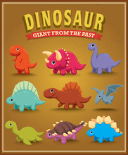 Vintage Cute Dinosaur Character Poster Design