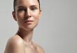 Leinwandbild Motiv freckles woman's face portrait with healthy skin..