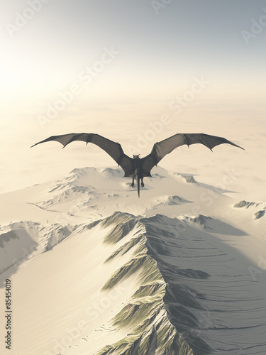 Fantasy illustration of a grey dragon flying over a snow covered mountain range, 3d digitally rendered illustration #85454019