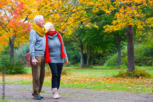 Fotografie, Obraz  Senioren beim pärchen spazieren im Wald