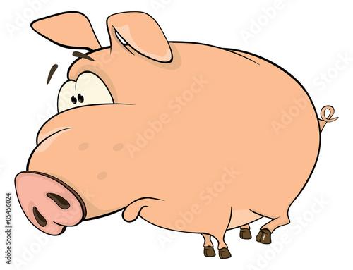 Papiers peints Chambre bébé A cute pig farm animal cartoon