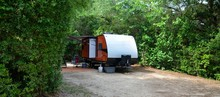 Camping Trailer At Camp Site