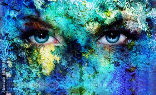 Fototapety, obrazy: beautiful blue women eyes beaming, color desert crackle effect,