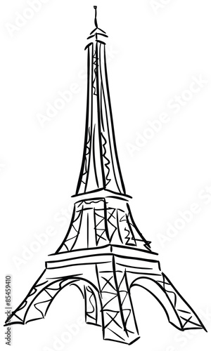 Vector illustration of Tower Eiffel. Canvas Print