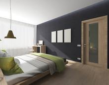 Bedroom Interior With Green Blanket