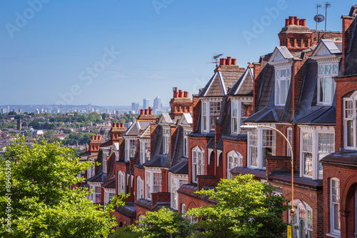 Brick houses of Muswell Hill and panorama of London with Canary Wharf, London, U Canvas Print