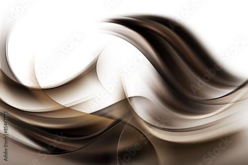 Nowoczesne ciemne brązowe fale streszczenie na białym tle