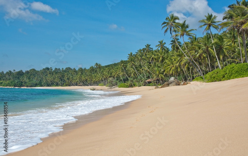 Foto op Canvas Tropical strand Paradise beach with green turquoise waves, coconut palm trees and fine untouched sand, Southern Province, Sri Lanka, Asia.