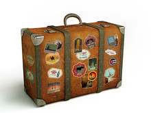 Old Travel Suitcase Isolated O...
