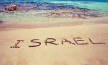 Inscription Israel On Beach Sand