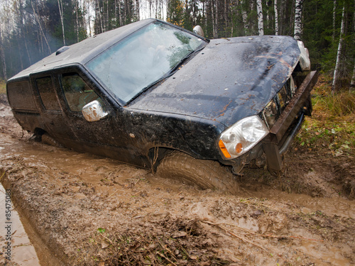 Fotografie, Obraz  Jeep got stuck in the woods