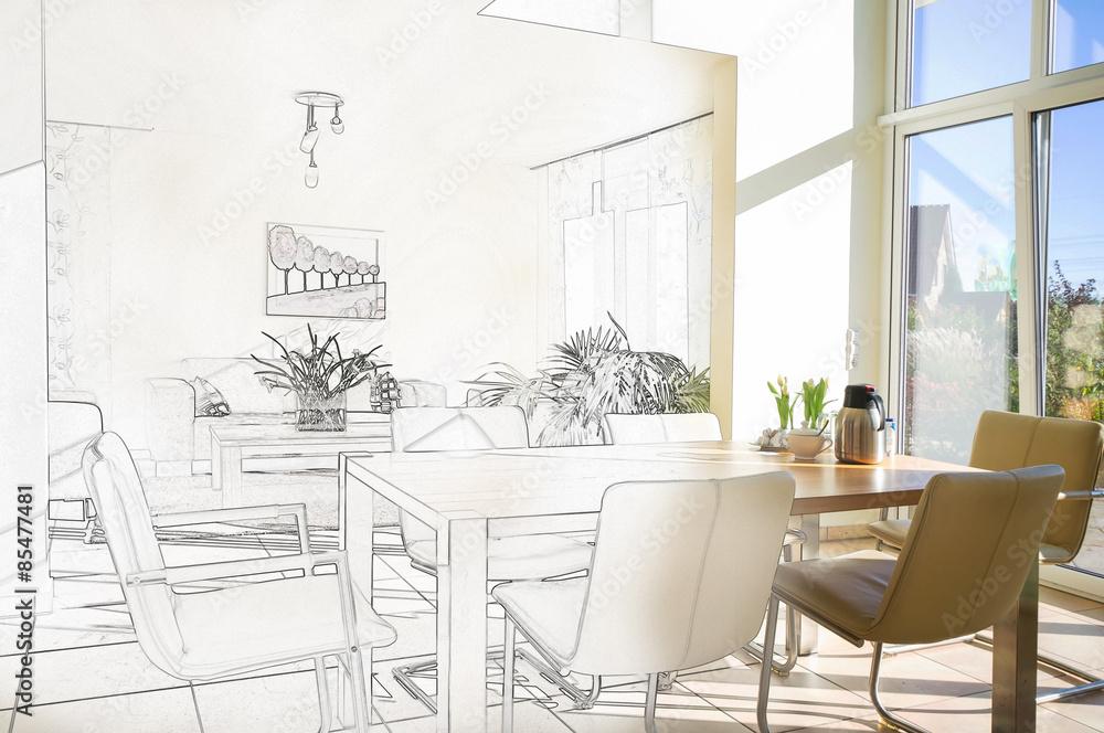 Fototapety, obrazy: Wohnzimmer in der Planungsphase