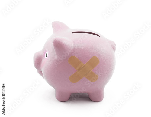 Sick piggy bank with clipping path Poster