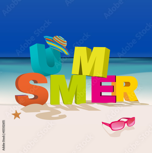 Poster Retro sign Summer letters
