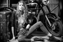 Attractive Woman In Garage