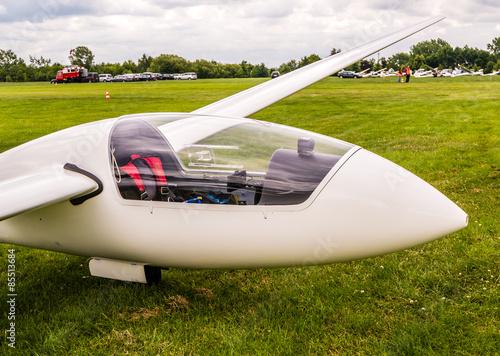 Segelflugzeug auf einer Wiese