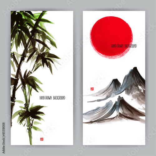 Fotografia  two banners with Japanese natural motifs