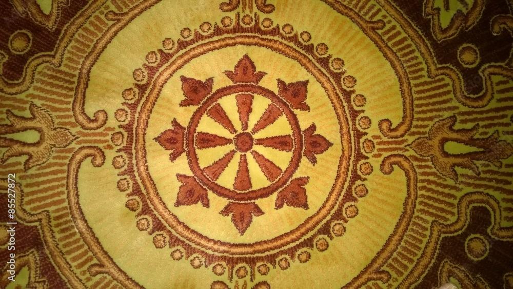 Obraz kremowo bordowy dywan z góry fototapeta, plakat