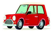 Caricatura Mini Rojo Vista Fro...