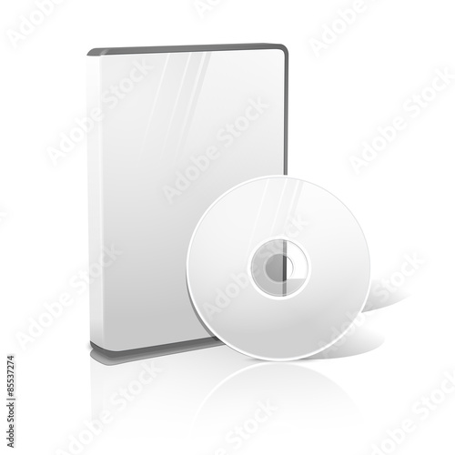 Fotografía  White realistic isolated DVD, CD, Blue-Ray case with disk