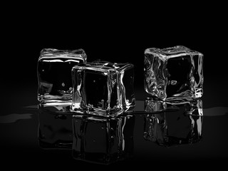 Ice cubes on black background.3D render.
