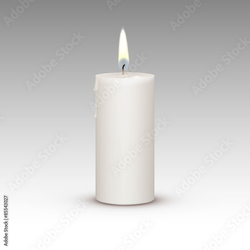 Stampa su Tela Candle Flame Fire Light Isolated on Background