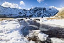 Frozen River, Lake District, UK.