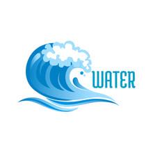 Blue Ocean Wave With Foam Bubb...