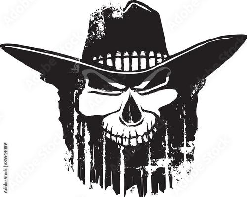 Fotografija  Rough Rider cartoon outlaw skull with western hat.