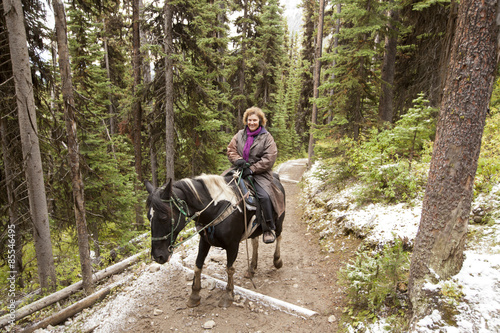 Fototapety, obrazy: horseback riding through forest trail