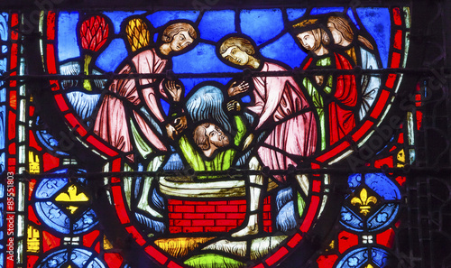 Baptising King in Water Stained Glass Sainte Chapelle Paris Fran Fototapeta