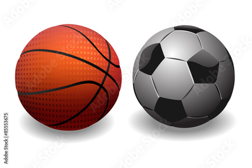 In de dag Bol Basketball and Soccer Ball. isolated on white Background.